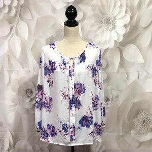 Lucky Brand White Floral Long Sleeve Blouse XL